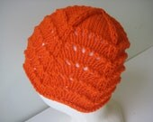 merino wool orange lace hat - beaconknits