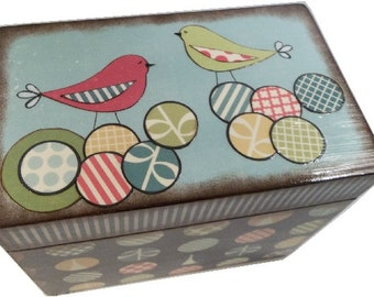 Recipe Box,  Decoupaged, Holds 4x6 Cards, Large Box, Retro Bird and Other Designs,  Bridal Shower Box, Storage Organization, MADE TO ORDER