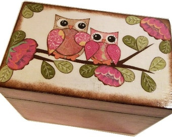 Recipe Box, Wood Recipe Box, Decoupaged Recipe Box, Owl Recipe Box, Wedding Recipe Box, Bridal Shower Box, Holds 4x6 Cards, MADE TO ORDER