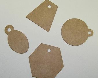 """Mini Tags Die Cut  from Kraft Chipboard  (2 x 1.75"""")  Pk of 16"""