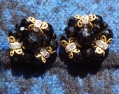 1950s Black Faceted Glass and Crystal Clip Earrings