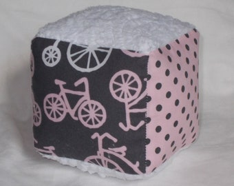 Fun Pink Bicycles Fabric Block Rattle Toy