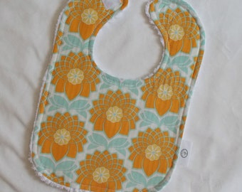 Blue and Orange Chrysanthemum Chenille Boutique Bib