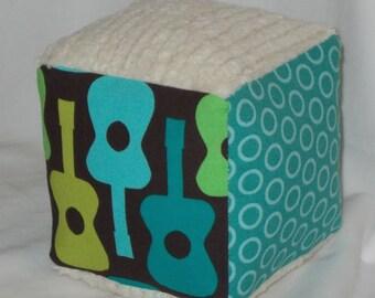 Groovy Guitars Fabric Block Rattle