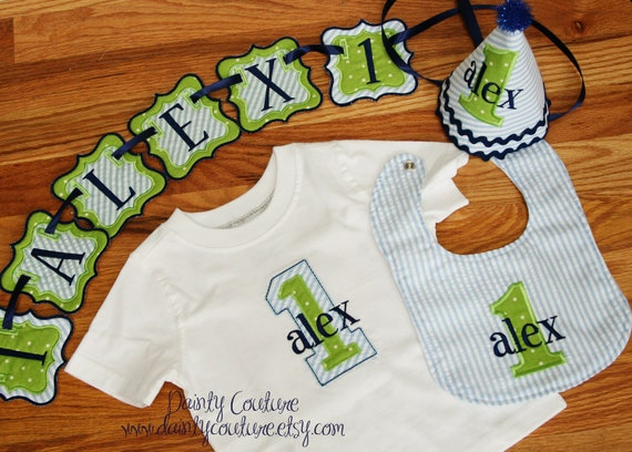 Boys First Birthday Party Hat Bib Shirt