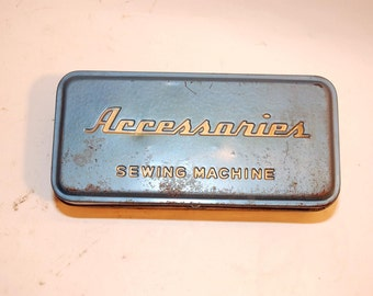 vintage box container accessories for straight stitch sewing machine metal gray blue colored metal
