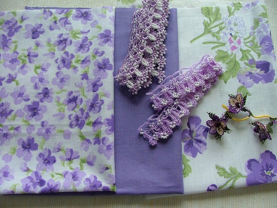 Lilac/lavender color cotton fabrics  violet medley with assorted oya laces, small baggie