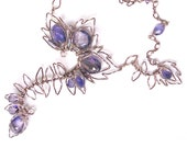 Rhapsody in Shades of Grey Pearl Necklace with Dichroic Blue Violet Iolite Gemstones