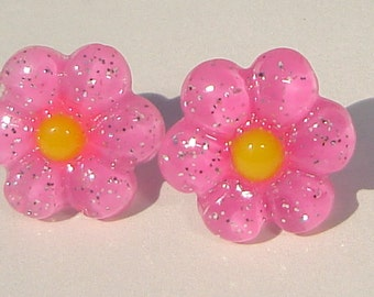 Pierced Post Earrings petite pink glitter sparkle flowers with yellow center resin pierced post hand made earrings