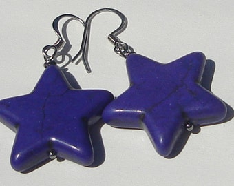 Pierced Dangle Purple Star Earrings Purple stars pierced dangle hand made wire wrapped earrings