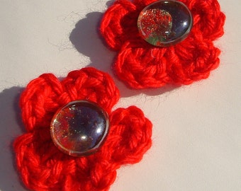 red or green crochet flowers with glass gem centers CLIP ON handmade earrings affordable unique earrings