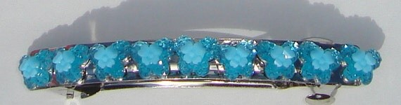 blue butterfly sparkle sequin hand made hair barrette