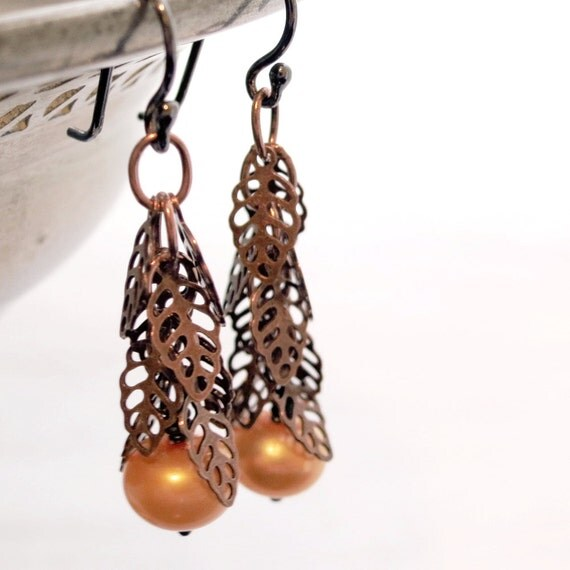 Copper Leaves earrings, Apricot Pearls, Sterling Silver