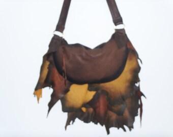 "Leather COMICON Purse ""Autumn Fire"" Ruffled Natural Edge WOODLANDS Fairy Fringed Handbag Artisan Hippie Retro Bag Handmade by Debbie Leather"