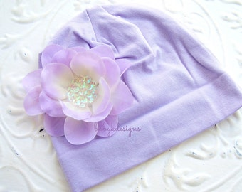 Newborn Bow Beanie Hospital Hat / Baby Girls Beanie / Infant Hat /  Lavender/Purple ADDISON flower and Cotton Beanie 2 Sizes MORE COLORS