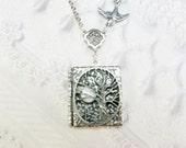 Silver Locket Necklace - Silver TREE OF LIFE Locket - Book Locket - Jewelry by BirdzNbeez - Wedding Birthday Bridesmaids Gift