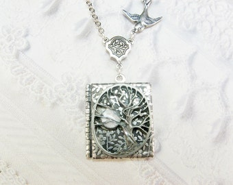 Silver Locket Necklace - Silver TREE OF LIFE Locket - Book Locket - Jewelry by BirdzNbeez - Wedding Birthday Bridesmaids Gift