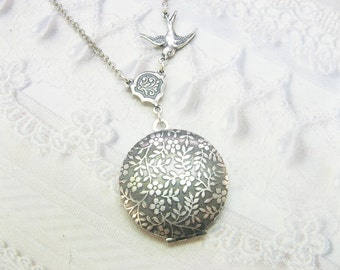 Silver Locket Necklace - The ORIGINAL Round FLOWER LOCKET- Garden Locket - Jewelry by BirdzNbeez - Wedding Birthday Bridesmaids Gift