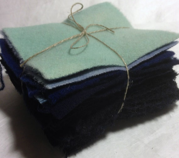 Twenty Three Blue 4 inch Hand Dyed Wool Squares Collection for Penny Rug and Applique