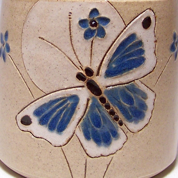 Blue Butterfly  Pottery Coffee  Mug Limited Series 59 (microwave safe) 12oz