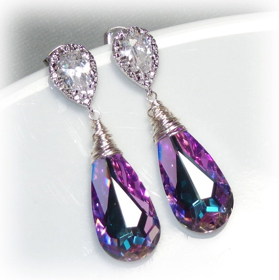 swarovski crystallized teardrop earrings vitrail light