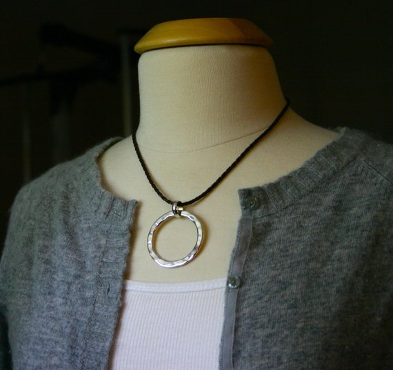 Sterling silver hammered circle pendant on brown braided cord - statement necklace