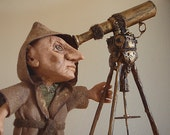 Astronomer and Alchemist Art Doll OOAK  with Telescope