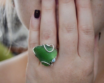 Sea Green Seaglass Ring Sterling and Blue Topaz Adjustable Size 6.5 to 8