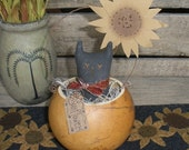 Primitive Black Cat Sunflower in Gourd Bowl
