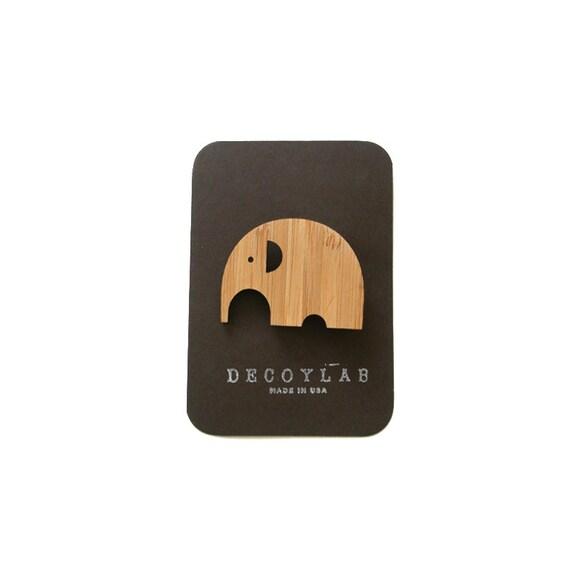 Elephant Pin Animal Bamboo Brooch