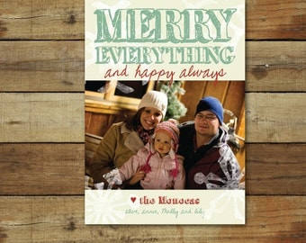 Merry Everything, Happy Always, modern holiday card, Christmas card, modern snowflakes, merry everything photo card