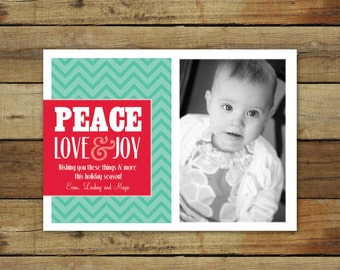 Chevron Christmas card, peace love joy holiday card