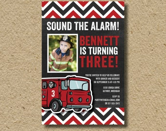 Firefighter birthday party invitation, fire truck birthday party, birthday photo card invitation