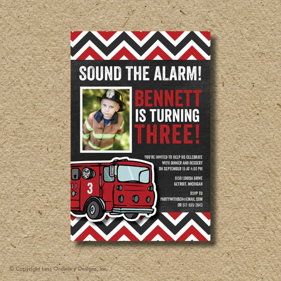 Firefighter birthday party invitation, fire truck photo card