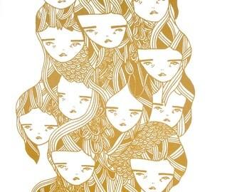 screen print poster print metallic gold- girls
