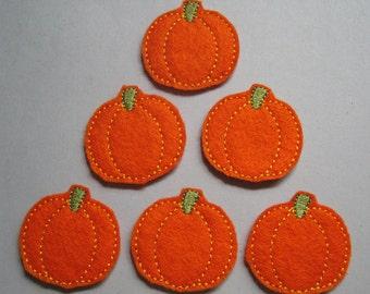 Orange Felt Embroidered Pumpkins - Pumpkin Feltie - Fall Pumpkin - 235