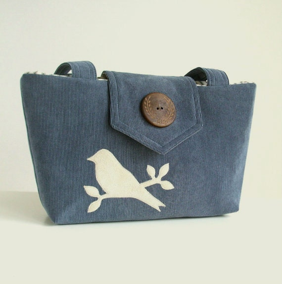 Corduroy Wayfarer Purse - Bird Applique - Handmade - Slate Blue