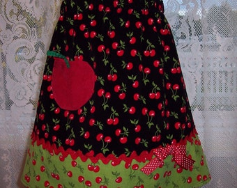 Ready to Ship OOAK Cherry Pocket  A-Line Girl's Skirt Size 6/7