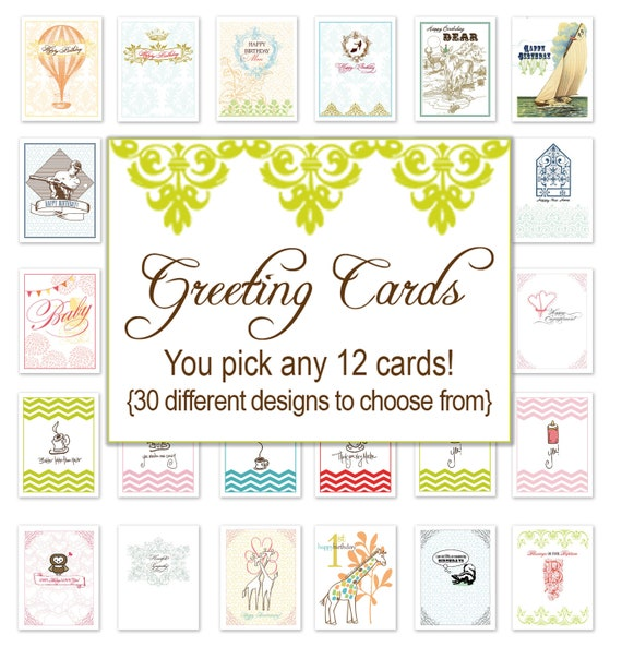 Variety Greeting Cards Pack Of 12
