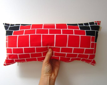 Pillow cover vintage fabric 2 Sided Red Black White Cream Grey Mid century unique upcycled brick pattern dorm decor