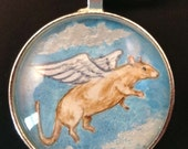 Brown/Fawn Rat Angel Pendant (or Key Ring) Wearable Art for the Rat Lover