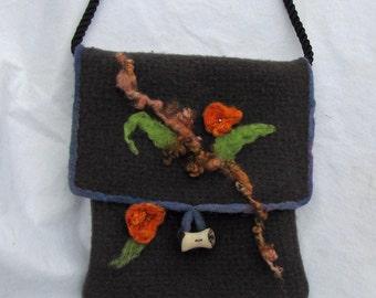 SALE Bag Purse Shoulderbag Women Fashion Gray Embellished with Orange Green Copper Needlefelted Design