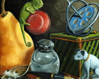 YOYO vintage lizard still life realistic print from original oil painting