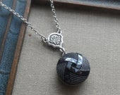 Vintage Glass Button Necklace- Woven Knot