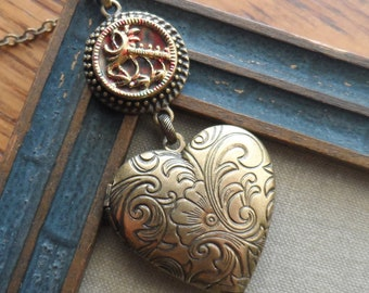 Antique Button with Heart Locket Necklace - Feather Heart