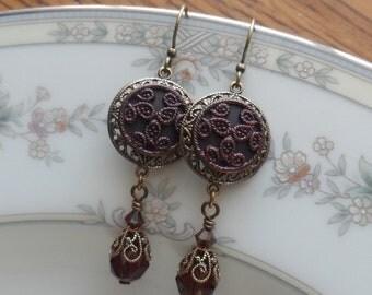 Aubergine Clover, Antique Button(c.1800's) Earrings