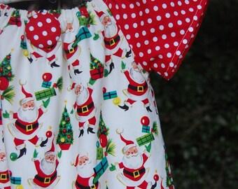 Vintage Santa Claus Christmas Peasant Dress