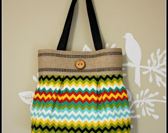Multi Color Chevron Bag with Jute Webbing Band