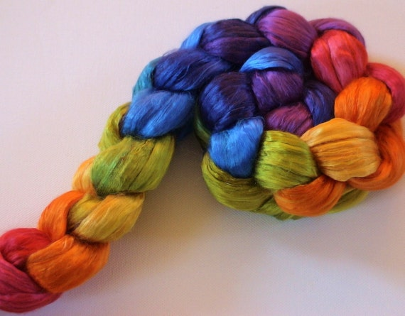Hand Dyed Mulberry silk brick 3.5ozs Double Rainbow