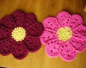 Crochet Cotton Flower Dishcloths